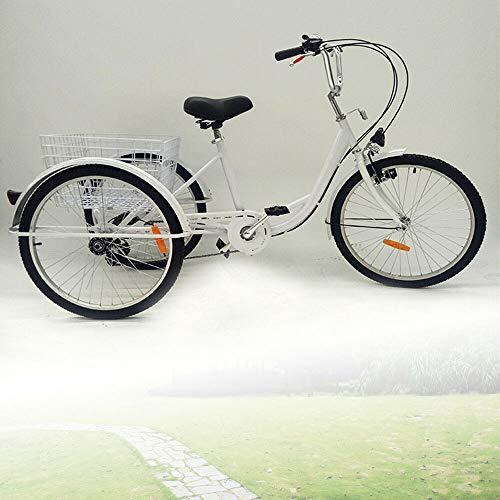DIFU - Triciclo para adultos, 24 pulgadas, 6 marchas, 3 ruedas, para adultos, bicicleta de carga, adultos y personas mayores, con cesta y lámpara