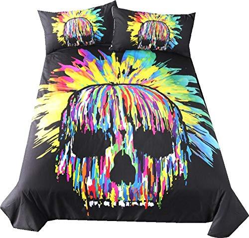 AmenSixye Bedding Sets 3D,halloween skull bed linen,Duvet Cover Set Queen/King,Quilt/Blanket Cover Set,3 PCS Bed se,AUD180x210cm(3pcs)
