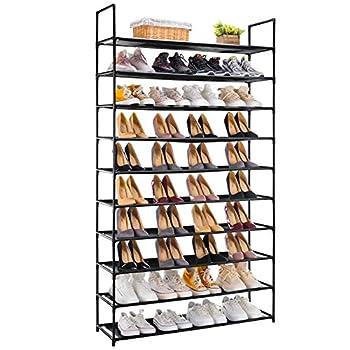 APICIZON 10 Tiers Shoe Rack 50 Pairs Shoe Storage Organizer Shelves for Closet / Entryway / Garage Space Saving Shoe Shelf Stackable Freestanding for Room Organization Black