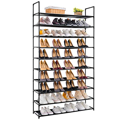 APICIZON 10 Tiers Shoe Rack, 50 Pairs Shoe Storage Organizer Shelves for Closet / Entryway / Garage, Space Saving Shoe Shelf, Stackable Freestanding for Room Organization, Black