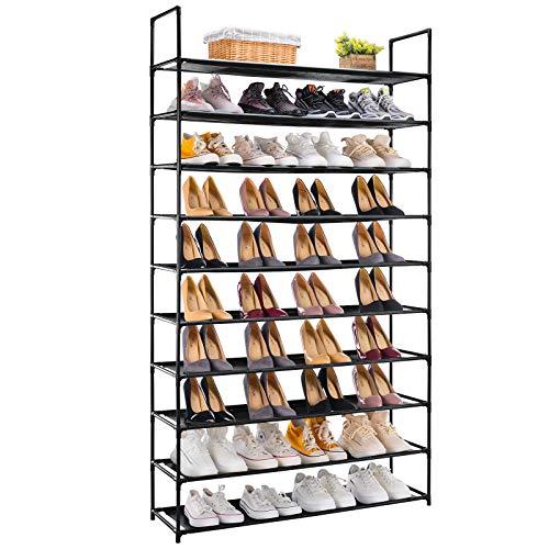APICIZON 10 Tiers Shoe Rack, 50 Pairs Shoe Storage Organizer Shelves for Closet / Entryway / Garage, Space Saving Shoe Shelf, Stackable Freestanding for Room Organization, Black