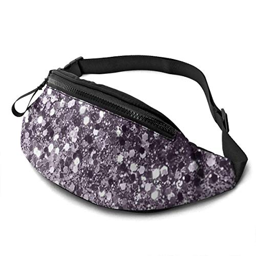 Corner Time Small Artificial Flowers Unisex Casual Waist Bag Sparkling Lavender Lady Glitter Shiny Decor Art Fanny Pack Money Bum Bag with Adjustable Belt for Running Sports Climbing Travel