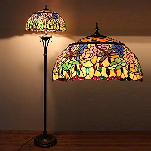 Tiffany 18-Zoll-europäische klassische Glas Dragonfly Stehlampe, Wohnung Wohnzimmer Gartencafé Stehleuchten