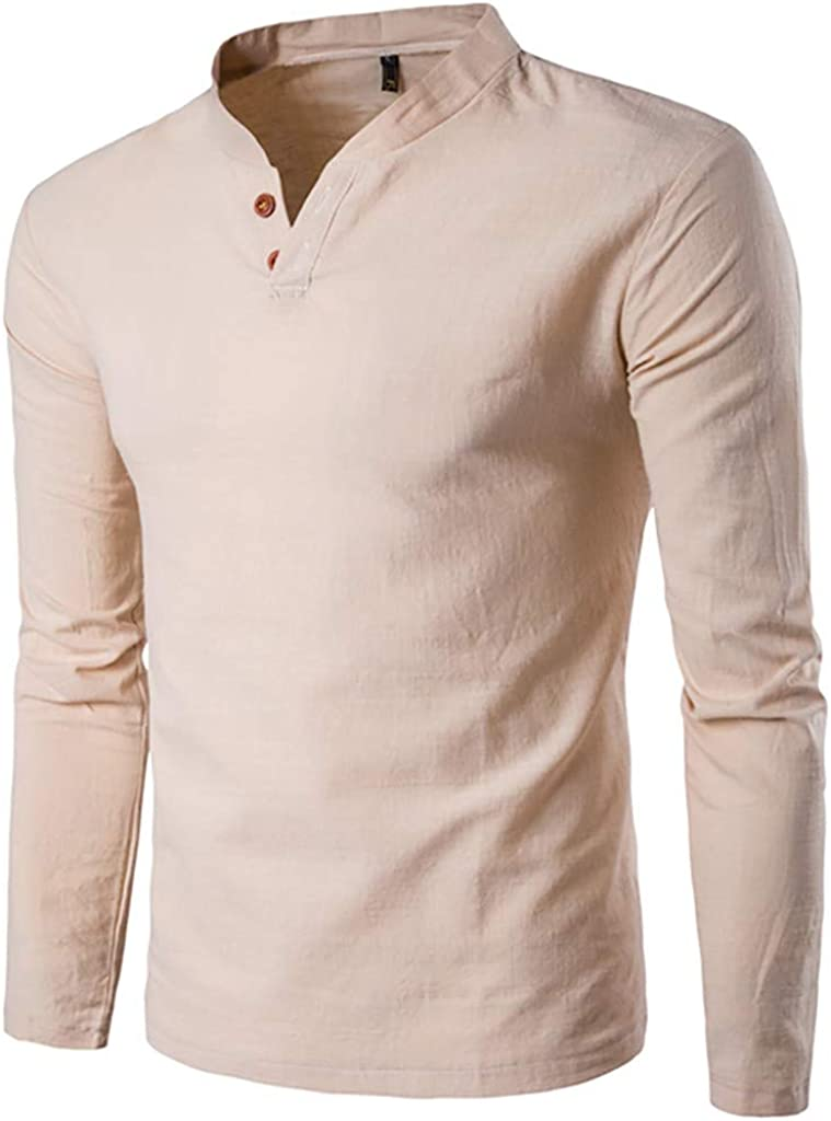 MODOQO Men's Button Down Long Sleeve Henley Shirt Loose Fit Solid V-Neck Tee Top