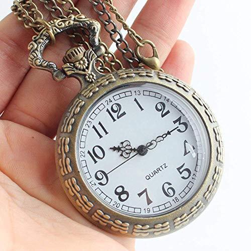 YGB Reloj de Bolsillo, Reloj de Bolsillo de Cuarzo de Navidad de Dibujos Animados de Bronce, Collar Colgante, Regalos para Hombres y Mujeres