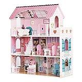 wuuhoo® I Puppenhaus Mary aus Holz lichtdurchflutetet und modern, großzügig ausgestattet mit 5 Zimmern und Balkon I Puppenvilla mit moderner Ausstattung in farbenfrohem Design