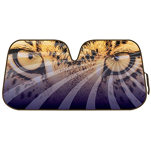 Mesmerizing Hypnotic Leopard Eyes Front Windshield Sun Shade - Accordion Folding Auto Sunshade for Car Truck SUV - Blocks UV Rays Sun Visor Protector - Keeps Your Vehicle Cool - 58 x 28 Inch