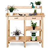 TUSY Garden Potting Bench Work Bench Planter Bench Solid Pine Wood with Drawer/Adjustable Shelf Rack/Storage Shelves for Indoor and Outdoor