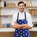 WELLXUNK Schürze,Küchenschürze Damen Schürze Kochschürze,Schürze mit Tasche für Frauen Kochen Arbeit Hausarbeit,zum Kochen oder Backen (Marine) - 5