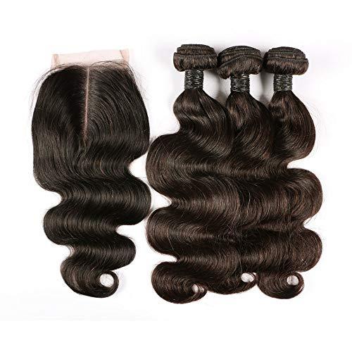 BLISSHAIR 3 Bündel mit Lace Closure, 9A Echthaar Haarverlängerung Body Wave Brasilianisches Virgin Remy Hair Weave mit 4x4 Machine Closure(10 10 10+10 Inch)