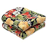 Pillow Perfect Outdoor/Indoor Clemens Noir Black Tufted Seat Cushions (Round Back), 19' x 19', Pack of 2