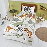 Coco Moon Jurassic World Dinosaur Junior or Single Duvet Bedding Set Ideal Boys and Toddler Dinosaurs Kids Bedroom Accessories Gifts Present