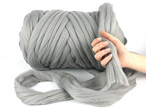 Giant Wool Yarn Chunky Arm Knitting Super Soft Wool Yarn Bulky Wool Roving (2 kg/4.4 lbs, Light Grey)