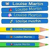 50 Etiquetas Adhesivas Personalizadas para lápices, bolis y rotuladores. Pegatinas escolares con...
