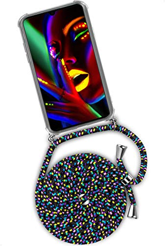 ONEFLOW Handykette 'Twist Hülle' Kompatibel mit Huawei Y5 (2019) - Hülle mit Band abnehmbar Smartphone Necklace, Silikon Handyhülle zum Umhängen Kette wechselbar - Schwarz Bunt