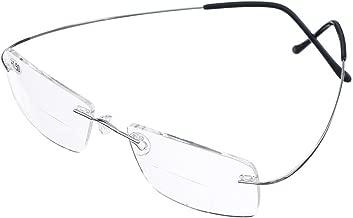 Bi Tao Super Light 100% Titanium Bifocal Reading Glasses Men Women Fashion Rimless..