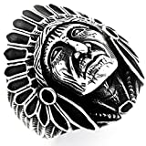 PikaLF Indian Chief Ring for Men, Native American Indian Head Rings, Spirit of The Warrior Ring, Indian Headdress Ring, Tribal Amulet Ring, Punk Style Indian Skull Jewelry Gift for Men Boys (12)