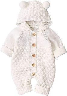 VICROAD Baby Strampler mit Kapuze Neugeborene Mädchen Jungen Gestrickte Onesies Warme Pullover Overall Outfits
