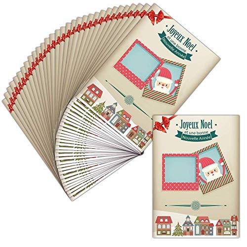 Tarjeta Noel personalizable (tarjeta personalizada)–32tarjetas–Tarjeta votre de fotos con parte del papá noel ➽ Dispo en 3tamaños Carte pliée - 14 cm x 19,5 cm
