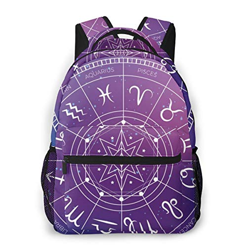 sanlianwangluokeji Zodiac Wheel Space Background Laptop Schoolbag Casual Super Durable Backpack Lightweight Travel Sports Backpack Unisex
