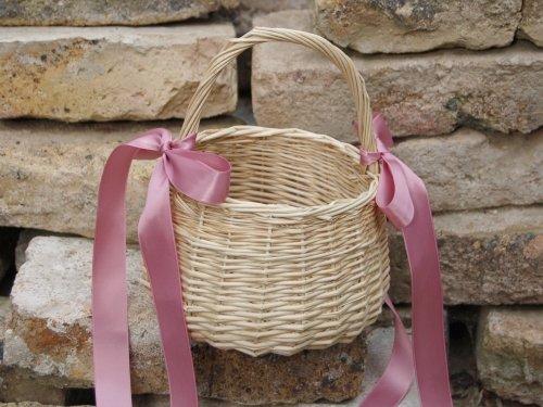 Hochzeitsservice Marriage Day Blumenkinderkörbchen Natur, Satinband Altrosa, Blumenkinderkorb Streukörbchen zur Hochzeit