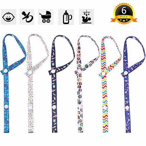 6 Stück Baby Schnullerkette mit Clip Spielzeug Bügel Gurt Verstellbare Länge Halter-Bügel für Kinderwagen
