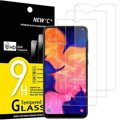 NEW'C 3 Unidades, Protector de Pantalla para Samsung Galaxy A10, Antiarañazos, Antihuellas, Sin Burbujas, Dureza 9H, 0.33 mm Ultra Transparente, Vidrio Templado Ultra Resistente