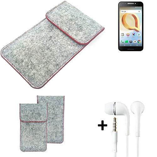 K-S-Trade® Handy Schutz Hülle Für Alcatel A30 Plus Schutzhülle Handyhülle Filztasche Pouch Tasche Hülle Sleeve Filzhülle Hellgrau Roter Rand + Kopfhörer