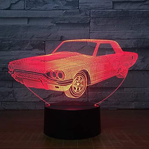 Regalo de vacaciones de iluminación de decoración de dormitorio de luz de noche multicolor de coche LED 3D