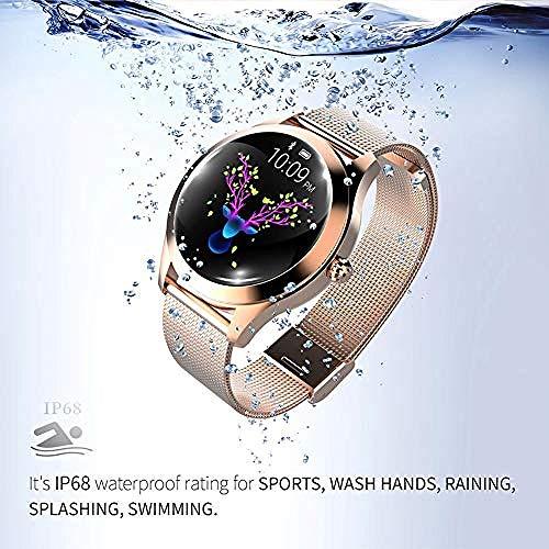 YAYY Smart Watch KW10 Pantalla táctil Redonda IP68 Smartwatch Resistente al Agua para Mujer Período Fitness Tracker con frecuencia cardíaca y Pulsera de podómetro para iOS/Android.(Upgrade)