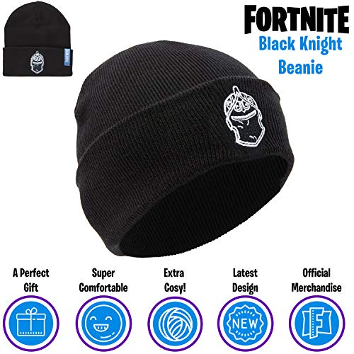 FORTNITE Beanie Hat for Boys Girls Teens, with Embroidered Black Knight Logo, Black Warm Winter Hats, Battle Royale Official Merchandising, Gifts for Boys Girls Teenagers
