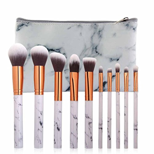 TPulling 10 Stück Gesicht Marian Marmor Make-up Pinsel Make-up Tasche Kombination Foundation Make-up Pinsel