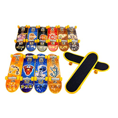 Juguetes novedosos e interesantes. 12 piezas Mini patinetas de dedo Constellation Style Toys Aleación Scooters de dedo Accesorios educativos para niños (estilo aleatorio)