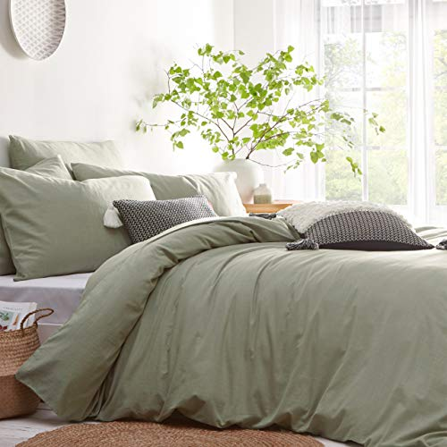 The Linen Yard Stonehouse Single Duvet Cover Set, Cotton, Sage, 135 x 200cm