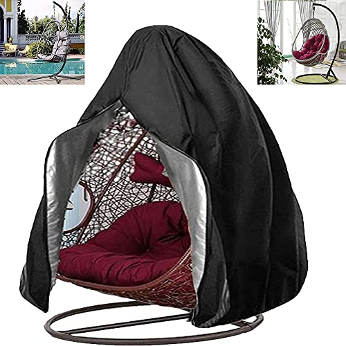 """Egg Chair Cover Outdoor Hanging Swing Egg Chair Protector Zipped 420D Oxford Fabric Waterproof Windproof and Anti-UV Garden Double Cocoon Chair Cover 91"""" x 80"""""""