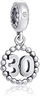 Choruslove Milestones 30 Number Charms for Pandora Beaded Bracelet, 925 Sterling Silver Beads Inlay CZ Birthstone Dangle 30th Birthday Annivesary Pendant, Gifts for Mothers Day/Memorial Day