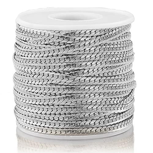 PJ1 1 metro de acero inoxidable con textura de serpientes de la serpiente de la serpiente en relieve 4mm oro plano cadena de enlaces cubanos para la joyería de bricolaje que hace suministros Tl0623