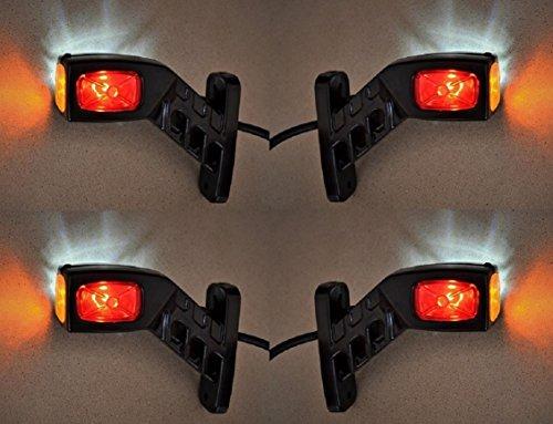 Lot de 4 feux de gabarit latéraux à LED 12 V/24 V pour camion, remorque, châssis, benne, caravane, camping-car, rouge, blanc, orange.