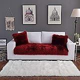 Sofá Cojín,Felpa Cubierta para Sofá,Protector DE Muebles para Pet Dog Color Sólido Espesar Cubiertas De Sofá Throw,Anti-resbalón Cubierta De Couch-El Vino Es Tinto. 90x90cm(35x35inch)