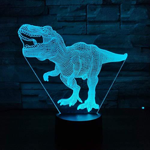 Yicare 3D Illusion Lampe LED Nachtlicht T-Rex Lampe Optische 3D-Illusions-Lampen 16 Farben Wählbar Dimmbare Touch Schalter Nachtlampe mit Fernbedienung Weihnachten Geschenke Für Kinder