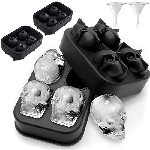 Skull Ice Cube Mold (Set of 2) Skulls Molds Silicone,Skull Molds for Baking,Sugar Skull Mold Pan,Halloween Weird Stuff,Reusable and BPA Free
