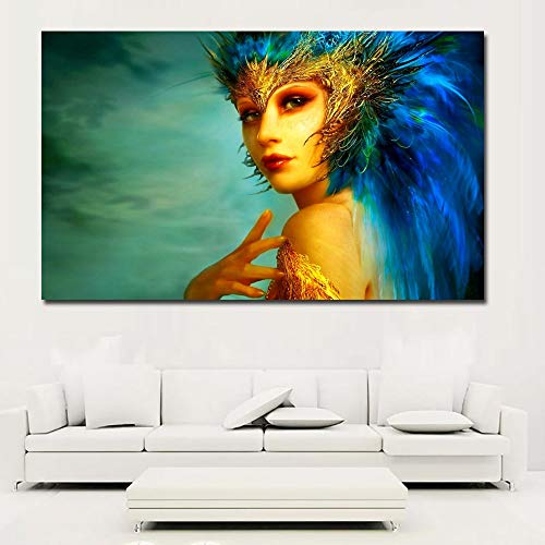 Abstract Canvas Print Canvas with Feather Crown Canvas Printed on Canvas Modern Painting Mural Frameless Painting 30X45CM