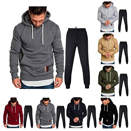 KaloryWee Herren Trainingsanzug mit Sweatshirt und Eng Geschnittener Jogginghose,Bodywear Jogginganzug,Bodybuilder Kapuzenpullover und - Sporthose Set