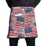 Delantal de Media Longitud de la Bandera Americana de Patrones sin Fisuras con Bolsillos Unisex para Cocina Restaurante Barbacoa
