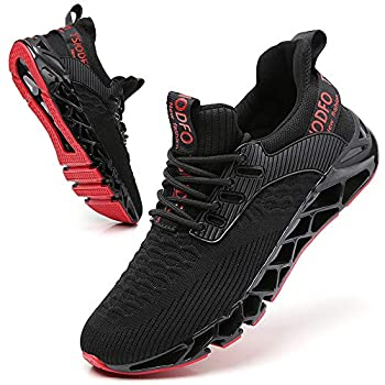 SKDOIUL Men Sport Running Sneakers Tennis Athletic Walking Shoes Mesh Breathable Comfort Fashion Casual Gym Runner Jogging Trainers Black Size 10
