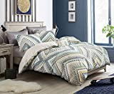 SLEEPBELLA Duvet Cover King Size, Turquoise, Golden Yellow, and Dark Blue Bohemian Pattern Printed on White, 3pc Cotton Reversible Geometric Comforter Cover with 2 Pillow Shams, 1 Duvet Cover