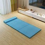 Alfombrilla de tatami para dormir, colchón de futón plegable, portátil, japonés, tradicional, esterilla de tatami, colchón de suelo, colchoneta para dormir para niños firme, azul 80x200cm (31x79 pul