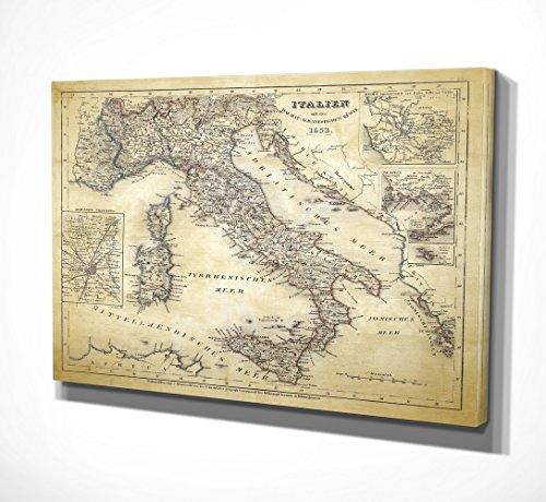 WEXFORD HOME Italy Sketch Map II Gallery Wrapped Canvas Wall Art, 24x32