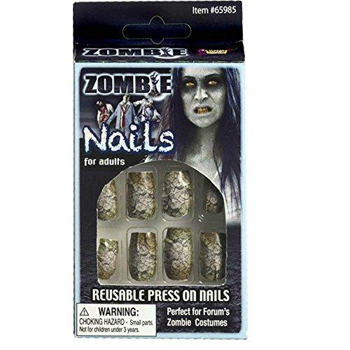 Generique - Faux Ongles Zombie craquelé Adulte Halloween
