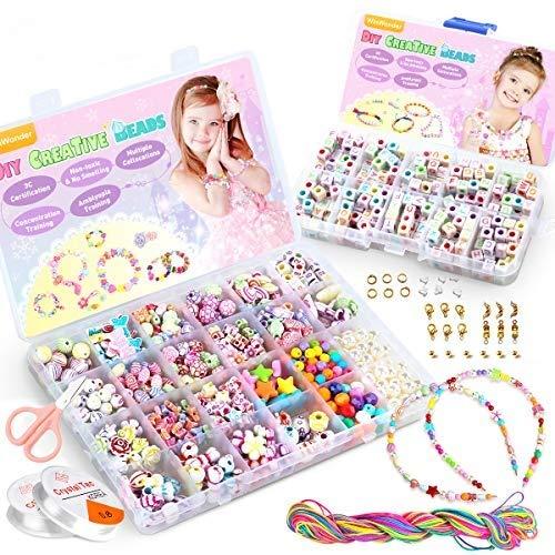 WinWonder Perlen Zum Auffädeln, Perlen zum auffädeln Kinder Schmuck Schnurset, Buchstaben Perlenschmuck Schmuckbasteln,DIY Freundschaftsarmbänder Halsketten Kunsthandwerks-Set für Mädchen Kinder